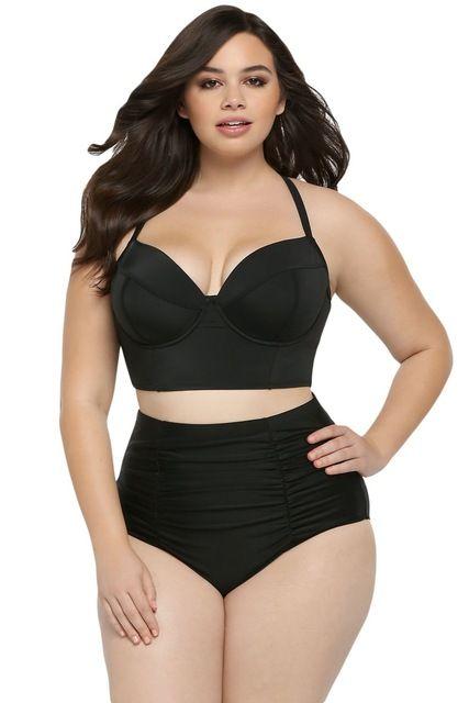 Adogirl Plus Size Swimwear New Women Black Ruched Halter Bra Padded High Waist Swimsuit Sexy Seamed Bathing Suit XL-4XL