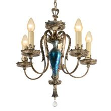Abundant Silver Classical Revival Chandelier w/ Art Glass C1925 | Rejuvenation #vintagelove #vintagedecor #vintage #architecture #interiordesign #homedecor #upcycled #antique #lighting #salvage