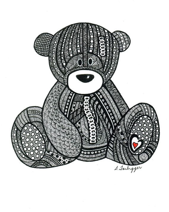 Black and White Zentangle Teddy Bear drawing by LimeGreenArtShop