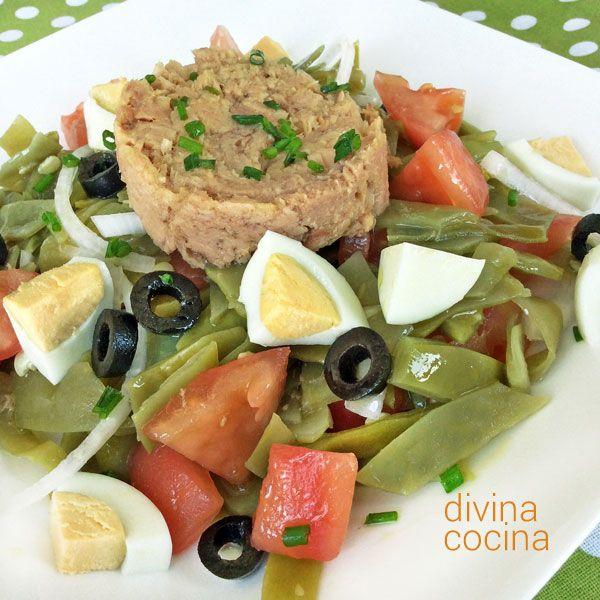 Esta ensalada fresca de judías verdes es una propuesta ligera para entrantes, pero si quieres que sea más consistente puedes añadir unas patatas cocidas