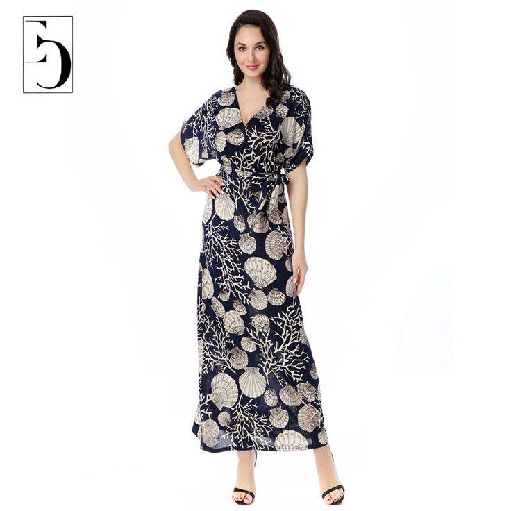 Bohemian mulheres vestido de verão moda praia profundo decote em V vieiras impressão Maxi vestidos de manga curta império Wasit Plus Size 6XL(China (Mainland))