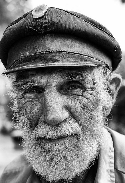 """Stranger"" by Nikonsnapper, oldie, face, wrinckles, portrait, intense, cap, beard, man, male, guy, intense, aged, a face that have lived, photograph, photo b/w."