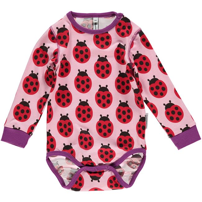 Ladybug bodysuit for babies and toddlers. Made by Swedish brand Maxomorra.