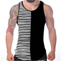 Tank Tops Fashion Summer Cotton Slim Fit Striped Tank Tops Men's Casual Sports Vest Gym Clothing Bodybuilding