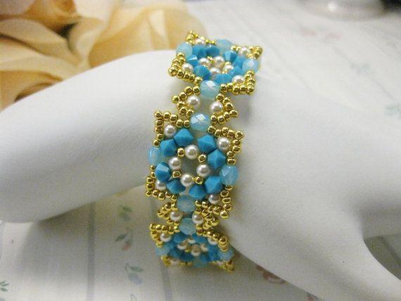 Alexandra Swarovski bracelet in turquiose on Etsy, $32.00