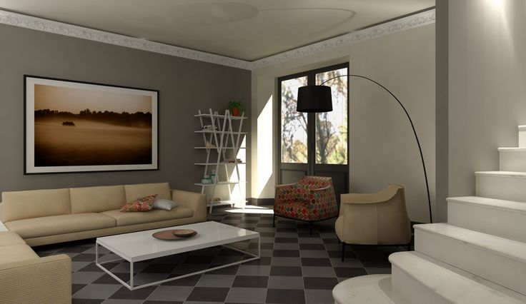 Modern livingroom, virtual image, rendered with DomuS3D and mental ray