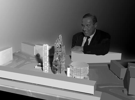 Berlin 1958 Egon Eiermann mit Modell Gedaechtniskirche