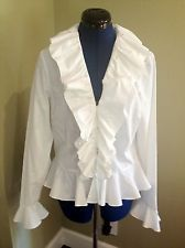 Pirate Lady Vixen Womens Ruffled White Blouse W/peplum By Ralph Lauren 10 M