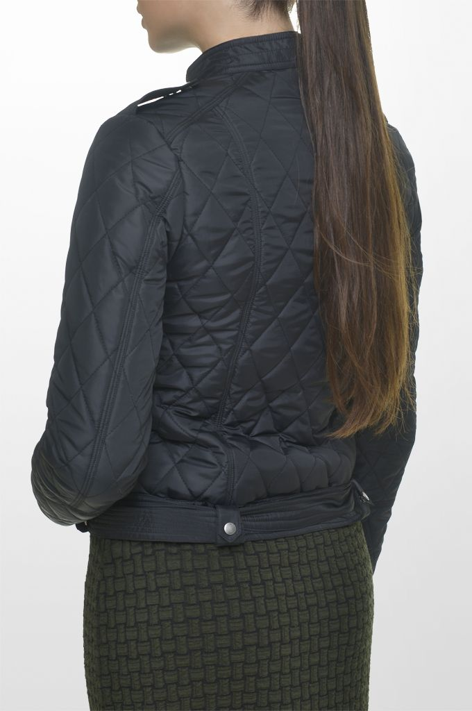 Sarah Lawrence - quilted side zip jacket, long sleeve jacquard dress.