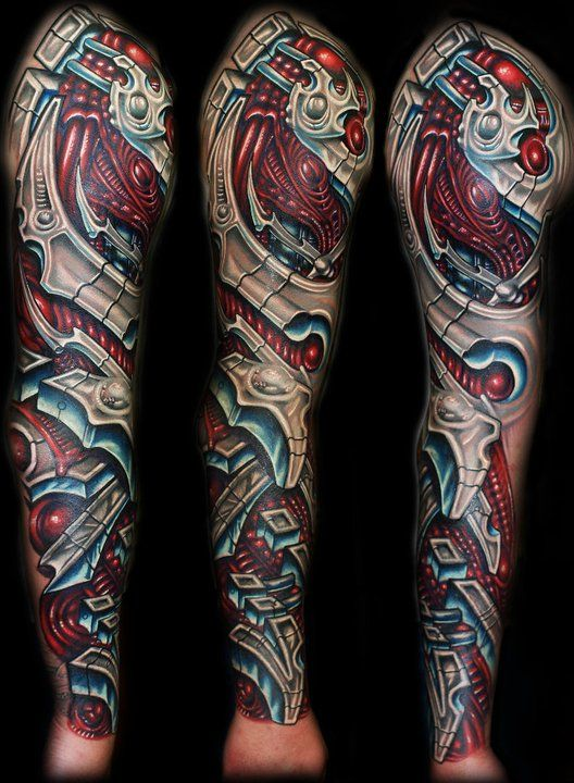 Awesome Bio-Mechanical Arm Sleeve Tattoo