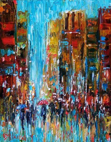 Umbrella, Rainy Cityscape Art, painting by Debra Hurd, painting by artist Debra Hurd