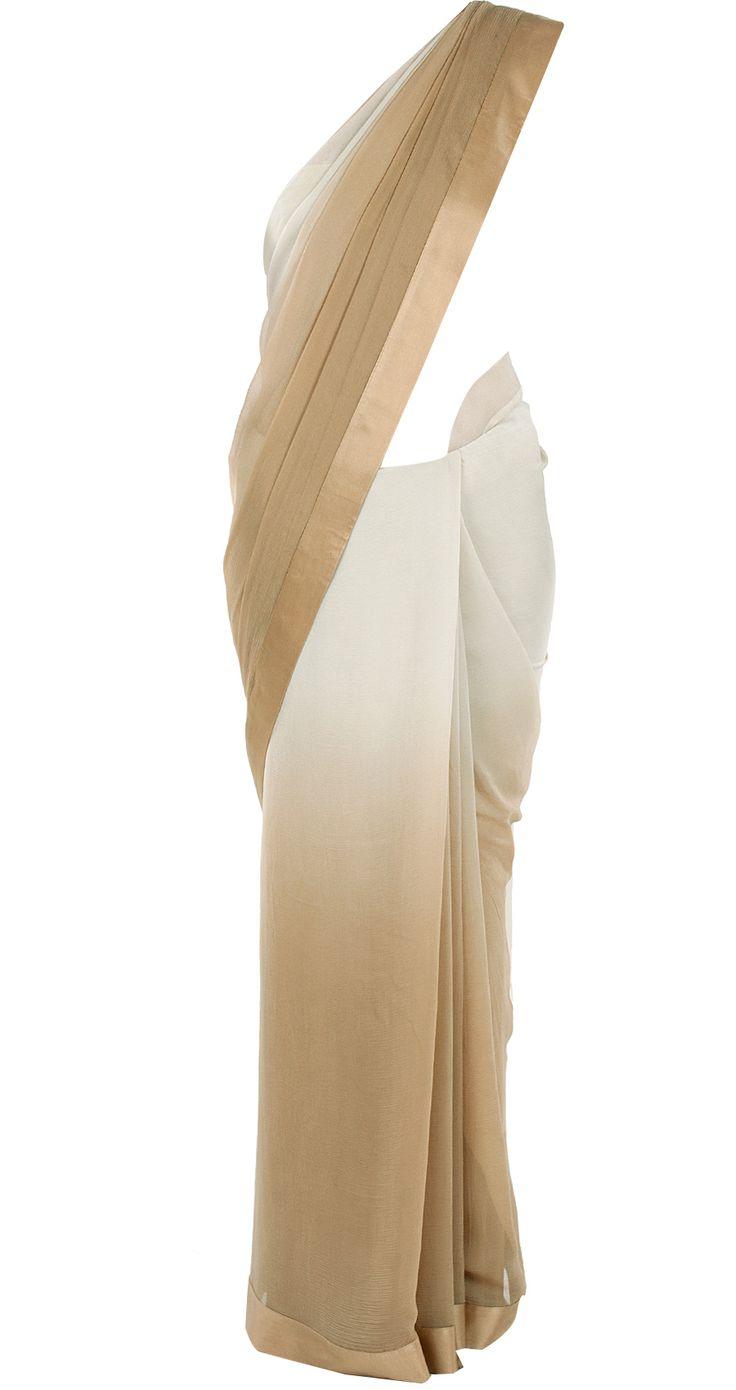 Ivory- beige ombre sari by PERNIA QURESHI. Shop at http://www.perniaspopupshop.com/designers-1/pernia-qureshi