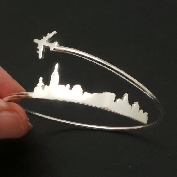 Personalized Plane New York Skyline Bracelet  yhtanaff Great Gift for Valentine's Day, Long Distance Love and Relarionship Couple.