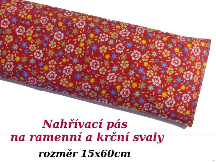 Šíjový relaxační pás - červené kvítečky (15x60cm)