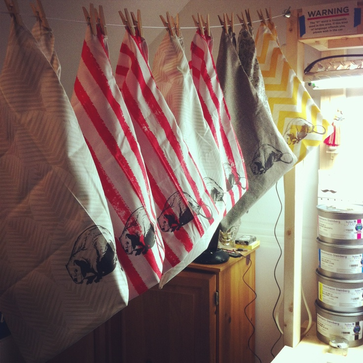 Cotton bags drying.