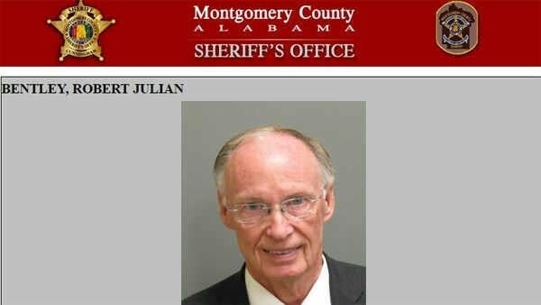 Embattled Former Governor Robert Bentley's Mugshot From The Montgomery County, Alabama Sheriff's Office.