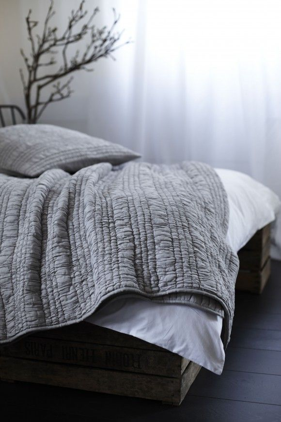 Grey Ruched Bedspread | Bedding | Natural Bed Company