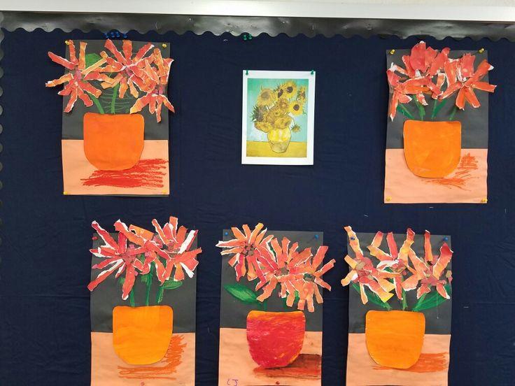 Monochromatic flowers Art Lesson.