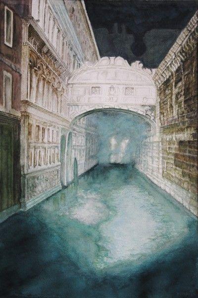 Bridge of Sighs – (Venice - Italy), aquarelle – 53 x 38 Arches 300gr, Original 600 Euro, Exclusive high end imprint on aquarelle paper - 100 Euro, www.sandorszikszai.com