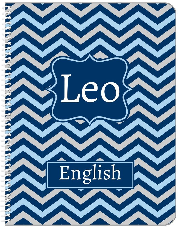 Personalized Chevron Notebook - Blue and Grey - Fancy Nameplate