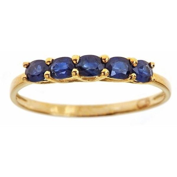 Anika and August 10k Yellow Gold Oval-cut Blue Sapphire Fashion Ring ($112) ❤ liked on Polyvore featuring jewelry, rings, blue, blue band ring, yellow gold rings, long rings, gold ring and gold jewelry
