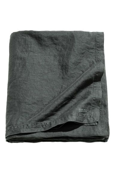 Washed linen tablecloth - Anthracite grey - Home All | H&M GB 1