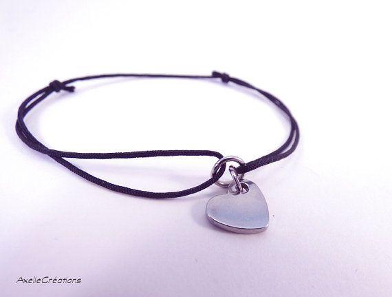 Bracelet nœud coulant Bracelet cœur   Bracelet par Axellecreations