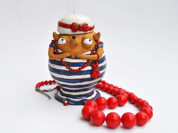 Loose tea or coffee holder: happy stripey by DomantesBabooshi