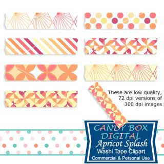 These warm ripe apricot colors of peach, yellow and burgundy make a really stand out digital washi tape. Great for embellishing your digital pictures, scrapbooks, journals, blogs and websites!