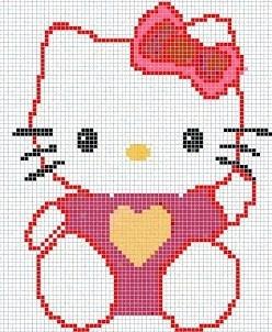 Hello Kitty heart hama perler beads pattern