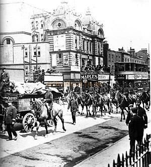 Hippodrome, Poplar during the Dock Strike of 1912 -- from 'Times Gone By' A photographic record of Great Britain 1856 - 1956. www.bkduncan.com