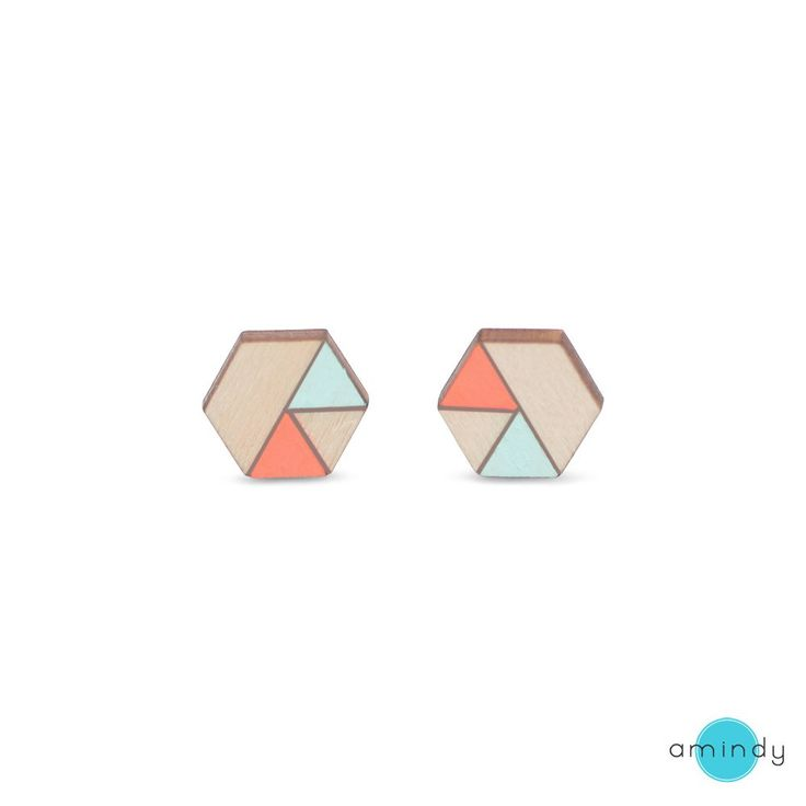 Amindy  - Hand painted hexagon Sliced Earrings - Neon Peach - Mint - Ply - $22 - Shop online at www.amindy.com.au