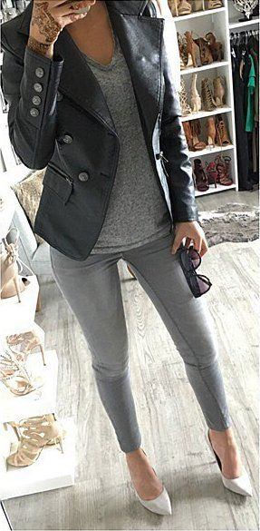#outfit #ideas ·  Grey Skinny Jeans // Cream Pumps // Leather Jacket // Grey Top