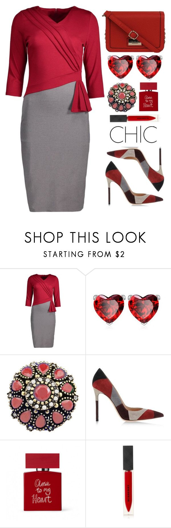 """Formal Style"" by simona-altobelli ❤ liked on Polyvore featuring Gianvito Rossi, Bella Freud, Burberry, Andrew Marc, dress, formal, MyStyle, redandgray and twotonedress"