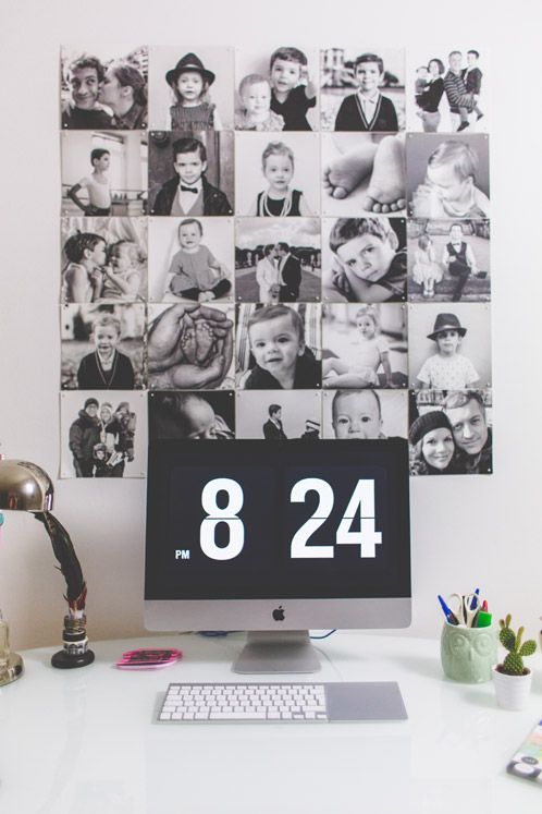 Create a photo collage using your own pictures, just like Bridgee Melling did. (photo credits go to Igor - Happy Interior Blog). #IXXI #interior #inspiration #design #gift #present #art #walldecoration #photo #collage #photography #blackandwhite