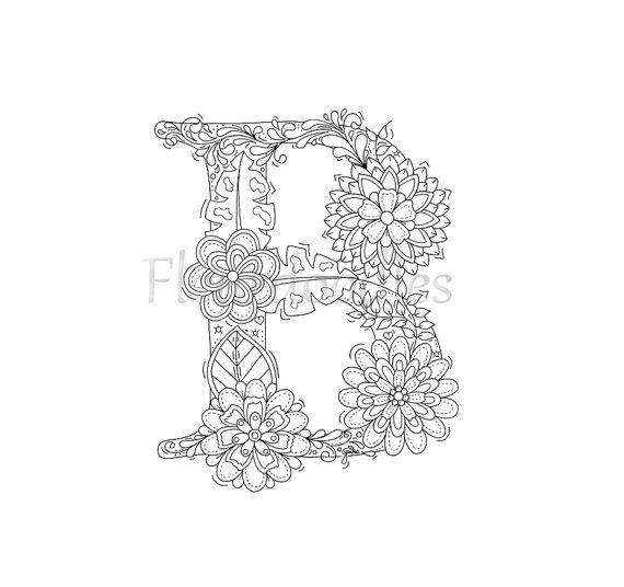 Malseite zum Ausdrucken  Buchstabe B  floral von Fleurdoodles