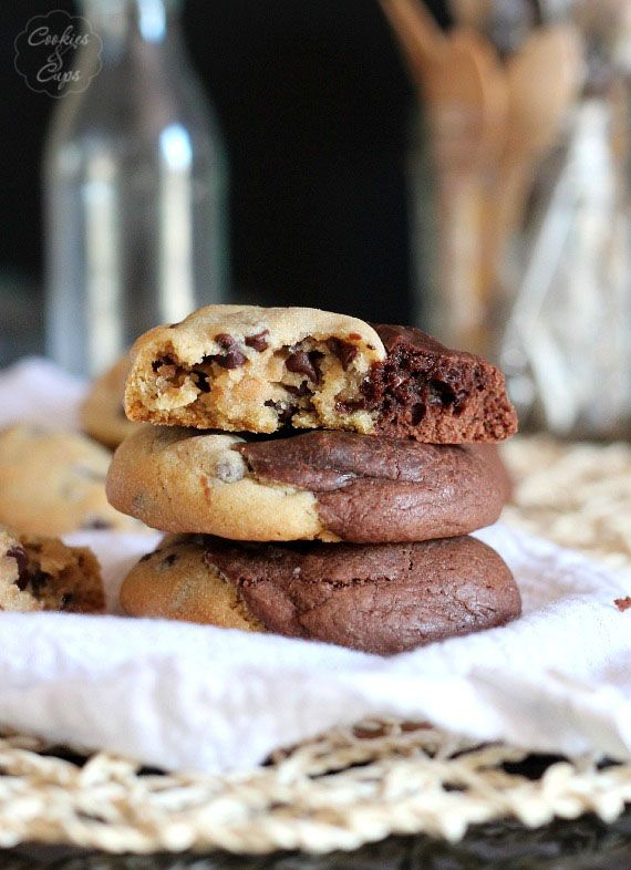 Brookie Cookies...perfect portions of a chocolate chip cookie and brownie all in one
