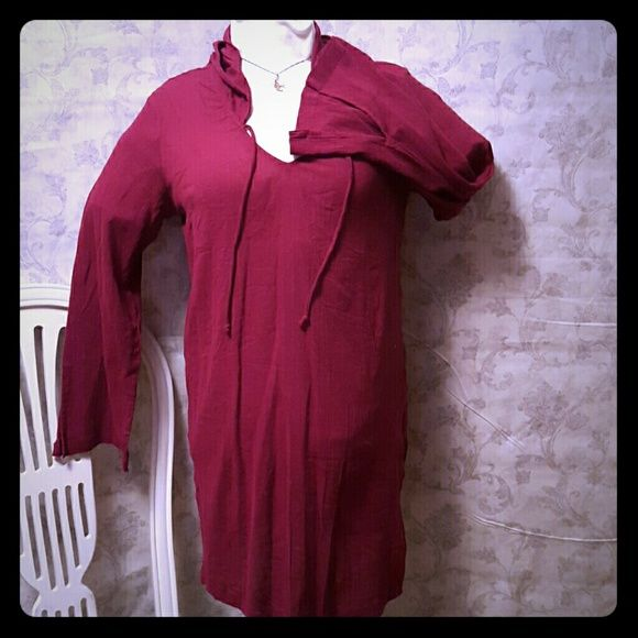 Beach cover up Deep wine color, cotton. Hooded. Thin swimsuit cover up ...