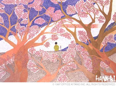 """A surreal and beautiful art, featured in """"Hana-Bi"""", painted by Takeshi Kitano himself."""