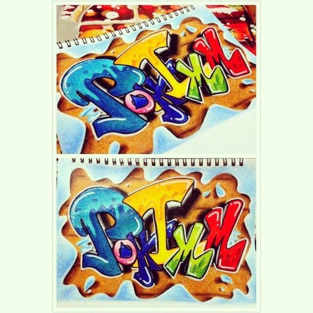"""24 次赞、 3 条评论 - Poh Imm (@poh_imm) 在 Instagram 发布:""""#my_works #graffiti #my_name #Poh_Imm #colorful #colour_pencils #marker#sketch_book###"""""""