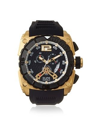 86% OFF Elini Barokas Men's 17012-YG-01 Commander Black Silicone Watch