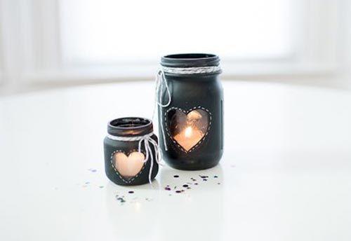 Sweet mason jar candle holder