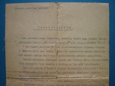 WETERYNARZ - PODPIS STAROSTA - SOKAL KRESY - 1932