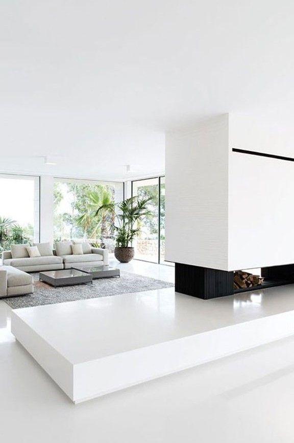 Minimalistische Wohnzimmer, Chamäleons, Herrenhäuser, Weiße Einrichtungen,  Home Design, Modernes Design, Wohnzimmerentwürfe, Villen, Kamine