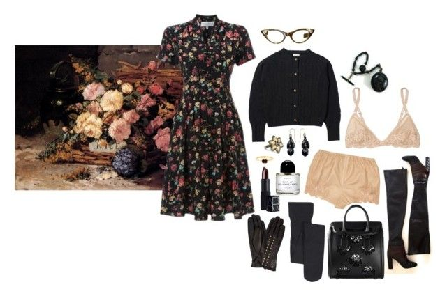"""""""autumn dusk among the flowers"""" by ghoulnextdoor ❤ liked on Polyvore featuring Edina Ronay, Peek, Nordstrom, La Perla, Wouters & Hendrix, Byredo and MICHAEL Michael Kors"""