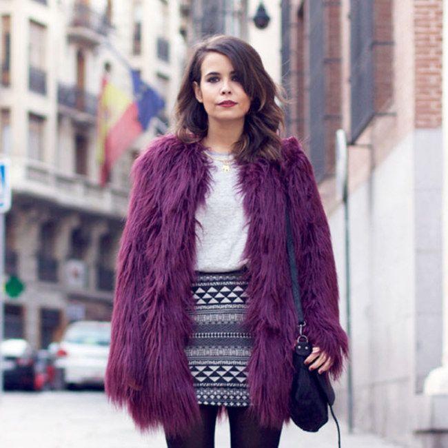 Como incorporar a cor roxa no look: casaco roxo