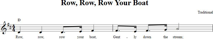 Row, Row, Row Your Boat sheet music with chords and lyrics for B-flat instruments including clarinet, trumpet, and more. View the whole song at http://chordzone.com/music/b-flat/row-row-row-your-boat/