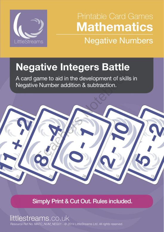 Negative Integers Battle | Card Game for Negative Number Sums from LittleStreams on TeachersNotebook.com -  (10 pages)  - This is a card game that is intended to reinforce negative integer skills and cultivate confidence in the addition and subtraction of negative numbers. Meets CCSS 7.NS.A.1c.