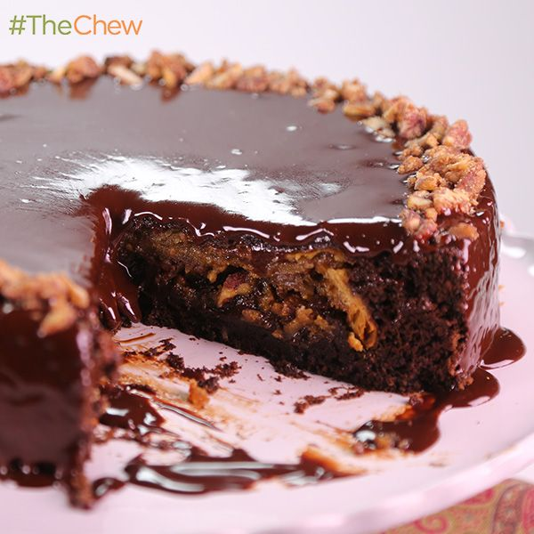 Thanksgiving Chocolate Pecan Piecake by Carla Hall! #TheChew