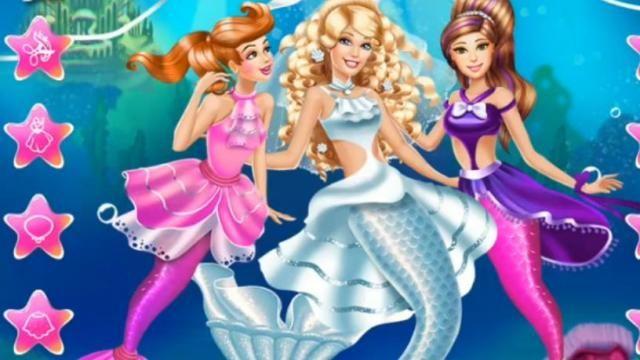 Casamento da Barbie Sereia: A bela Barbie sereia vai se casar e você será sua consultora de moda! Escolha um penteado incrível para a noiva, um vestido de noiva glamorosa e, em seguida, não se esqueça das madrinhas de casamento.